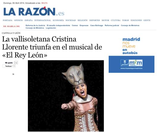 Cristina Llorente - Artículo en LA RAZÓN